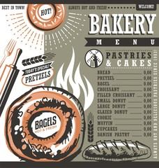 Bakery shop retro vector price list or menu design layout