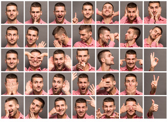 Collage of handsome man with emotions