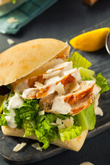 Photo sur Toile Pique-nique Homemade Chicken Caesar Sandwich