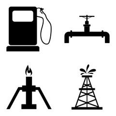 Oil, gasoline, petroleum icons set. Vector illustration.