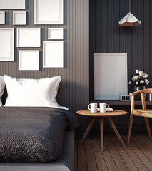 Simple Bedroom for Mock up Interior / 3D render image