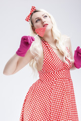 Pinup Retro Concepts. Dreaming Sensual Pinup Blond Woman With Sweet