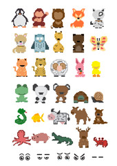 Collection animal pixel  ; Vector Illustration