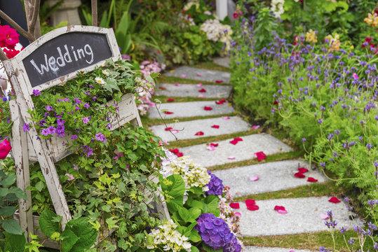 Romantic path to wedding banquet in beautiful green garden
