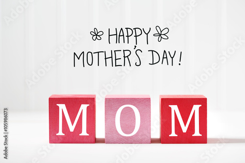 Mothers Day message with wooden blocks