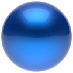 Sphere ball button circle round basic solid bubble figure geometric shape minimalistic simple atom element single blue cyan shiny glossy sparkling object blank balloon icon. 3d render isolated