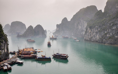 Halong Bay on a Gloomy Afternoon - Vietnam