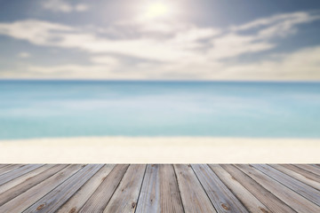 Wood floor on Retro Pastel Beach,motion blur.