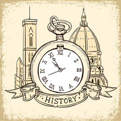 The concept of background about the history, architecture cathedral and Pocket Watch In Vintage  Style.
