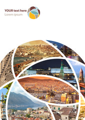 Fototapete - Travel collage. Can be used for cover design, brochures, flyers.