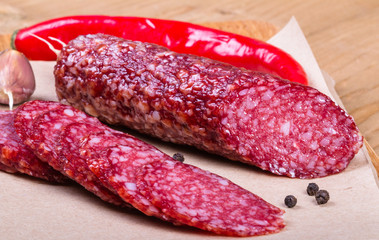 Sliced salami with chili