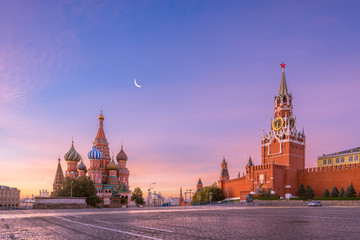 St. Basil's Cathedral and Spasskaya tower on Red Square, Moscow Kremlin