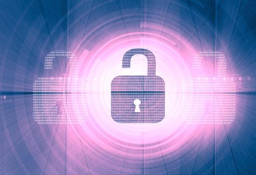 Internet security. unlock security locks on digital tech background