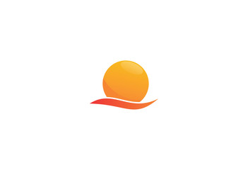 waves and sun vector symbol logo