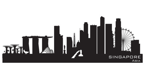 Wall Mural - Singapore city skyline vector silhouette