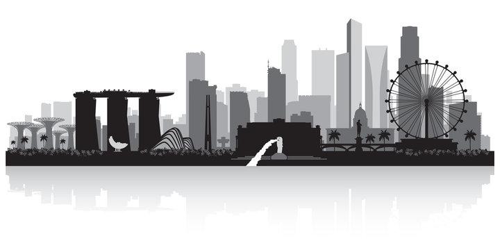 Singapore city skyline silhouette