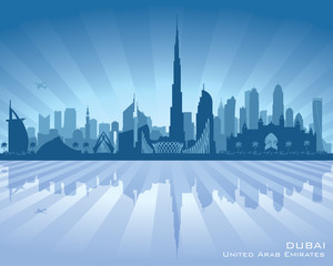 Dubai UAE city skyline vector silhouette