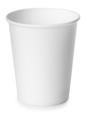 Empty white paper cup isolated on white with clipping path