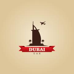 Dubai UAE city symbol vector illustration