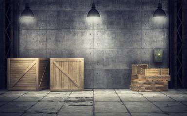 Old warehouse inside. 3D rendering