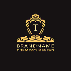 Luxury Vintage logo. Business sign, label, Letter emblem T for badge, crest, Restaurant, Royalty, Boutique brand, Hotel, Heraldic, Jewelery, Fashion, Real estate, Resort, tattoo, Auctions. Vector