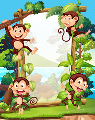 Border design with four monkeys
