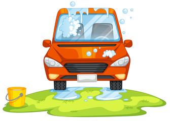Papiers peints Cartoon voitures Car washing in the park