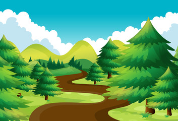 Nature scene with hiking track in the pine woods