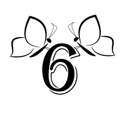 Butterflys with number six