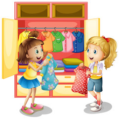 Two girls picking out clothes from closet