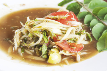 closed up som tum, thai spicy papaya salad