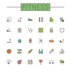 Vector Colored Fitness Line Icons