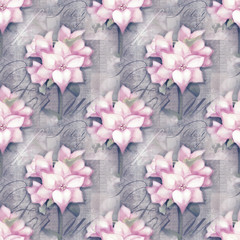 Seamless pattern. Beautiful astromeria flower in the pot with pattern, isolated on grunge shabby background