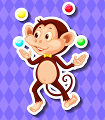 Cute monkey juggling balls