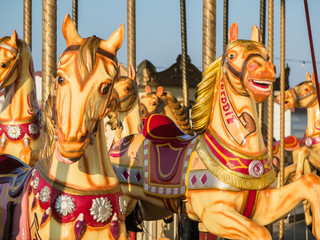 Herne Bay pier, carousel horses in the evening sunshine