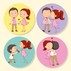 Love couple on round badge