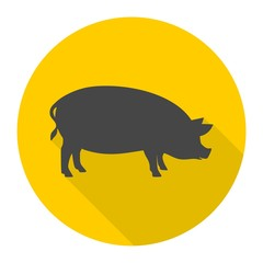 Silhouette of pig icon with long shadow