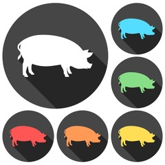 Silhouette of pig icons set with long shadow