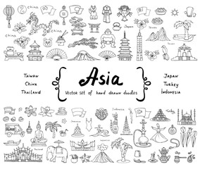 Vector set with hand drawn isolated doodles on the theme of Asia