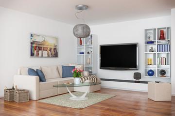 Moderne, luxuriöse Penthouse Wohnung mit einem Wohnzimmer.