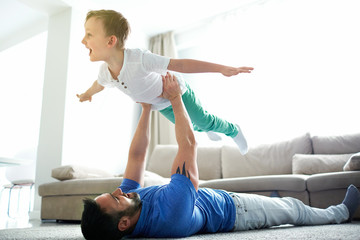 Playing with son