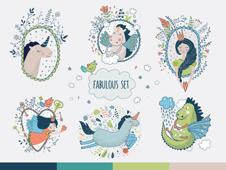 Cute magic collection with unicorn, prinsess, gragon, rainbow, f