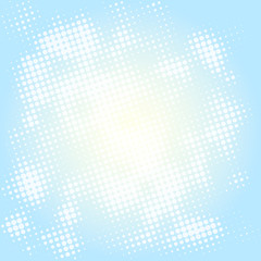 Beautiful abstract blue sky with bright sun and clouds halftone. Vector illustration.