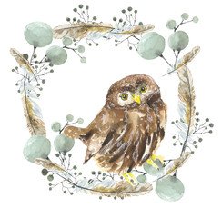 Owl in a wreath. Bird in a wreath with decorative feathers, watercolour drawing. Design on t-shirt, logos, wrapping paper