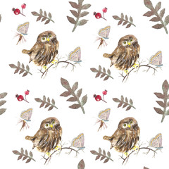 Owls pattern. Watercolor painting. A pattern of birds and animals. Design for veterinarians or logos. Pet supplies.