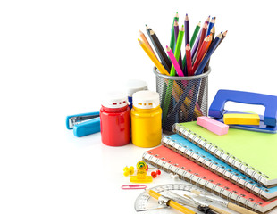 Stationery background  on white background
