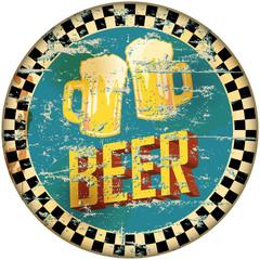 retro enamel beer sign, vector illustration