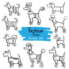 Vector set with hand drawn isolated doodles of dogs