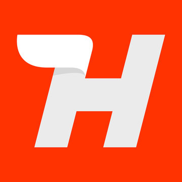 H letter logo with a wing on red.