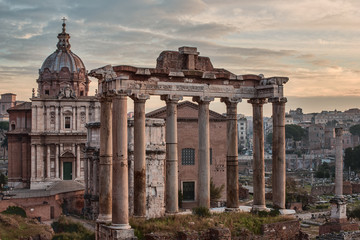 Fototapete - Rome, Italy: The Roman Forum, Santi Luca e Martina Church